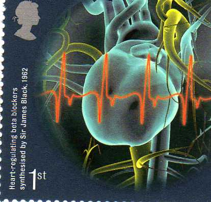 "first-class UK stamp commemorating the discovery of Propranolol. ""Heart-regulating beta blockers synthesised by Sir James Black, 1962"""
